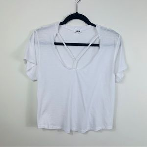 LNA Union Strappy white crop t-shirt size medium
